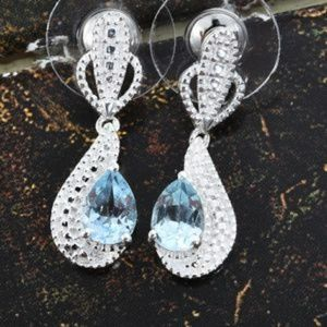 Jewelry - 🌺SKY BLUE TOPAZ STERLING SILVER EARRINGS